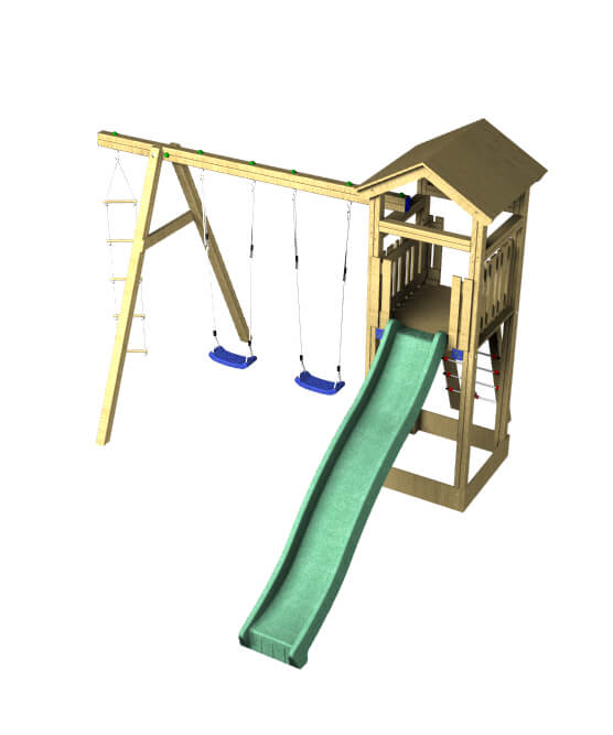 The chestnut double swing and slide set